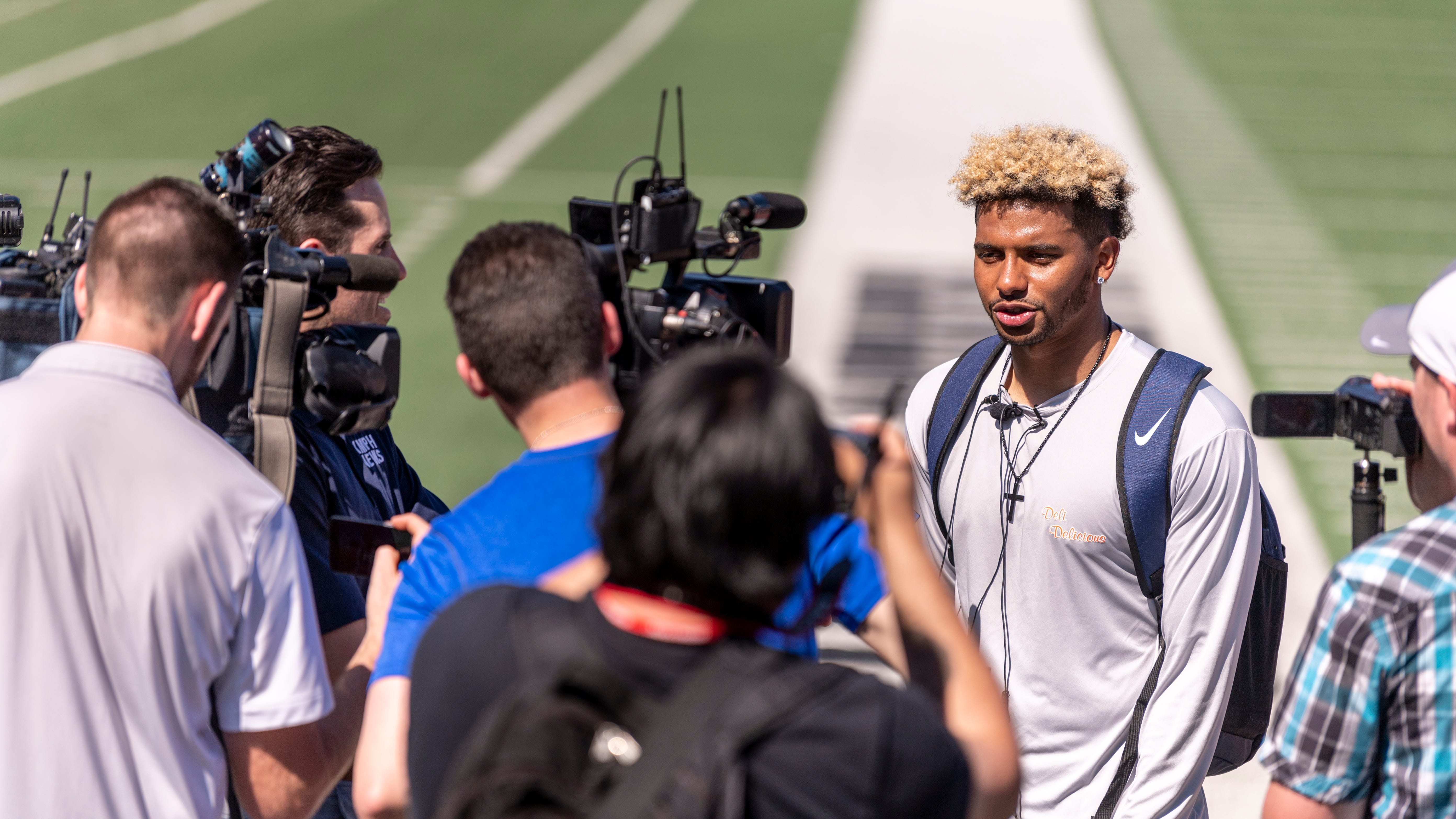Marcus McMaryion talks with media after Fresno State's annual Pro Day on Monday, March 18, 2019. Scouts from 28 NFL teams watched 19 players in the 40-yard dash, bench press, vertical jump, broad jump, 3 cone drill and shuttle run, as well as player specific position drills.