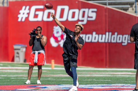 Marcus McMaryion participates in Fresno State's annual Pro Day on Monday, March 18, 2019. Scouts from 28 NFL teams watched 19 players in the 40-yard dash, bench press, vertical jump, broad jump, 3 cone drill and shuttle run, as well as player specific position drills.