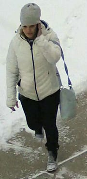 Marathon County Crime Stoppers is asking for your help to find the person responsible for the theft of a vehicle (which was later recovered) and other items in the early morning on Jan. 23, from the city of Mosinee. The investigation revealed video surveillance of a female suspect (pictured here) at a business, in close proximity to the recovered vehicle, at approximately 8:10 a.m. As pictured, the female is carrying a bag, and wearing a winter hat belonging to the victim. One of the victim's credit cards was used later that same day at a business in the town of Rib Mountain, at about 11:30 a.m.
