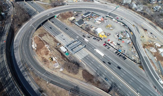 Drone images of the Exit 10/Rt. 9W interchange on the NYS Thruway in South Nyack on Wednesday, March 20, 2019.