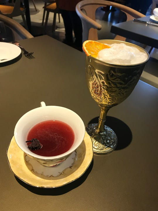 Queensyard cocktails. Afternoon Tea, left and Fab!
