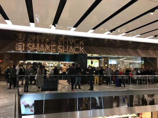 The line outside Shake Shack at Hudson Yards. Photographed March 18, 2019.
