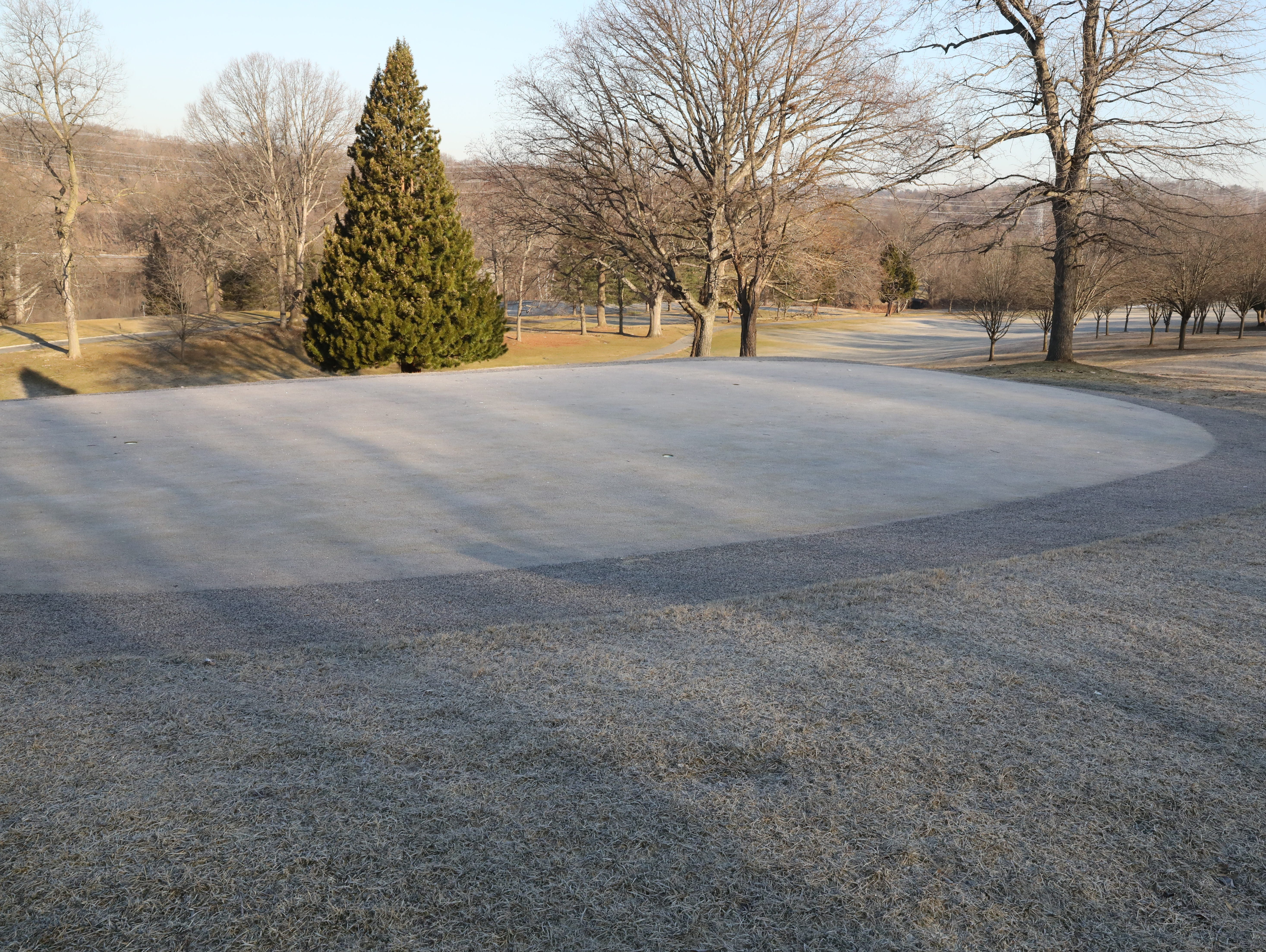 "Frost is seen on the putting green as a three hour ""frost delay"" greeted golfers during the opening day of golfing at Sprain Lake Golf Course in Yonkers, March 20, 2019."