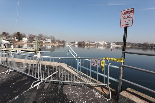 The broken guard rail at Hudaon Park in New Rochelle March 20, 2019. A car plunged into the water the day before, killing tow people.