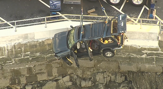 Police pulled this SUV out of Echo Bay in New Rochelle. Two people died after it went into the water.