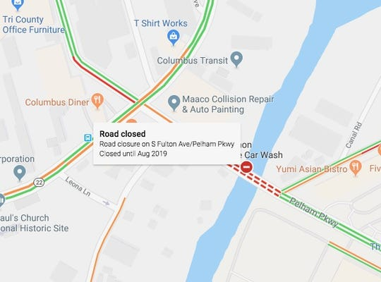 Google maps showing Fulton Avenue Bridge closed until August.