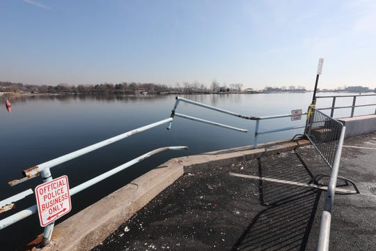 The broken guard rail at Hudason Park in New Rochelle on March 20, 2019. A car plunged into the water the day before, killing two people.