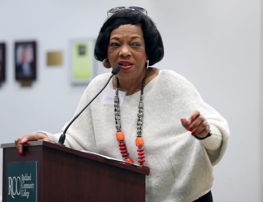 Rockland County Commissioner of Human Rights, Constance Frazier, speaks during the Interfaith Symposium held at Rockland Community College March 20, 2019.