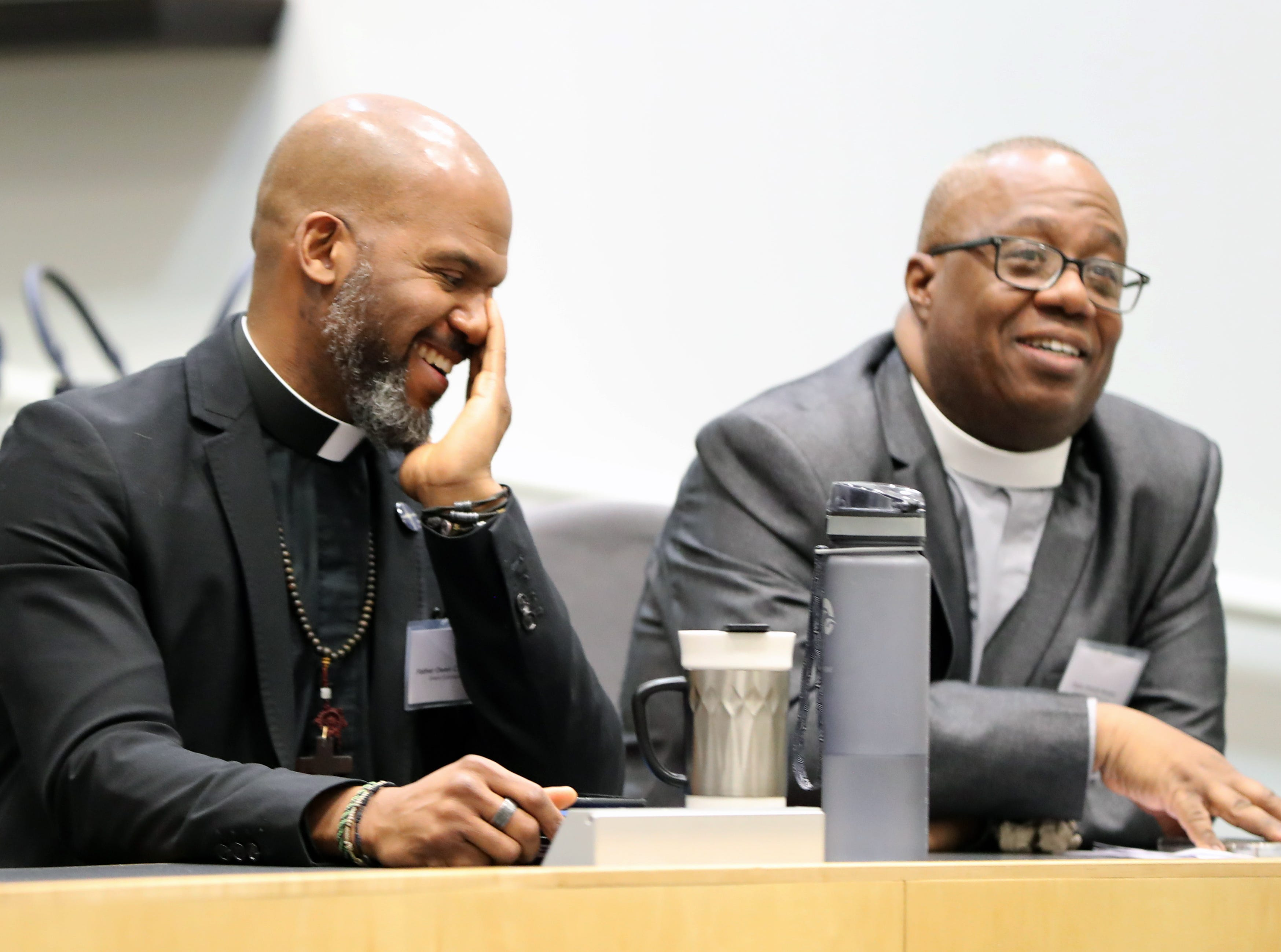 Fr. Owen Thompson, left, and Pastor Everett Newton during the Interfaith Symposium held at Rockland Community College March 20, 2019.