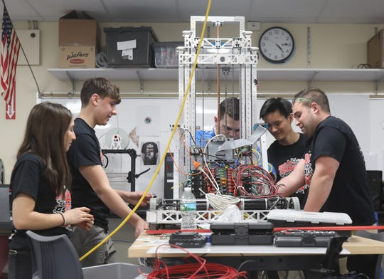 Tappan Zee's robotics team works on their robot at Tappan Zee High School in Orangeburg March 18, 2019. SO BOTZ Team #6911 are apart of a national robotics competition called For Inspiration and Recognition of Science and Technology, FIRST for short.