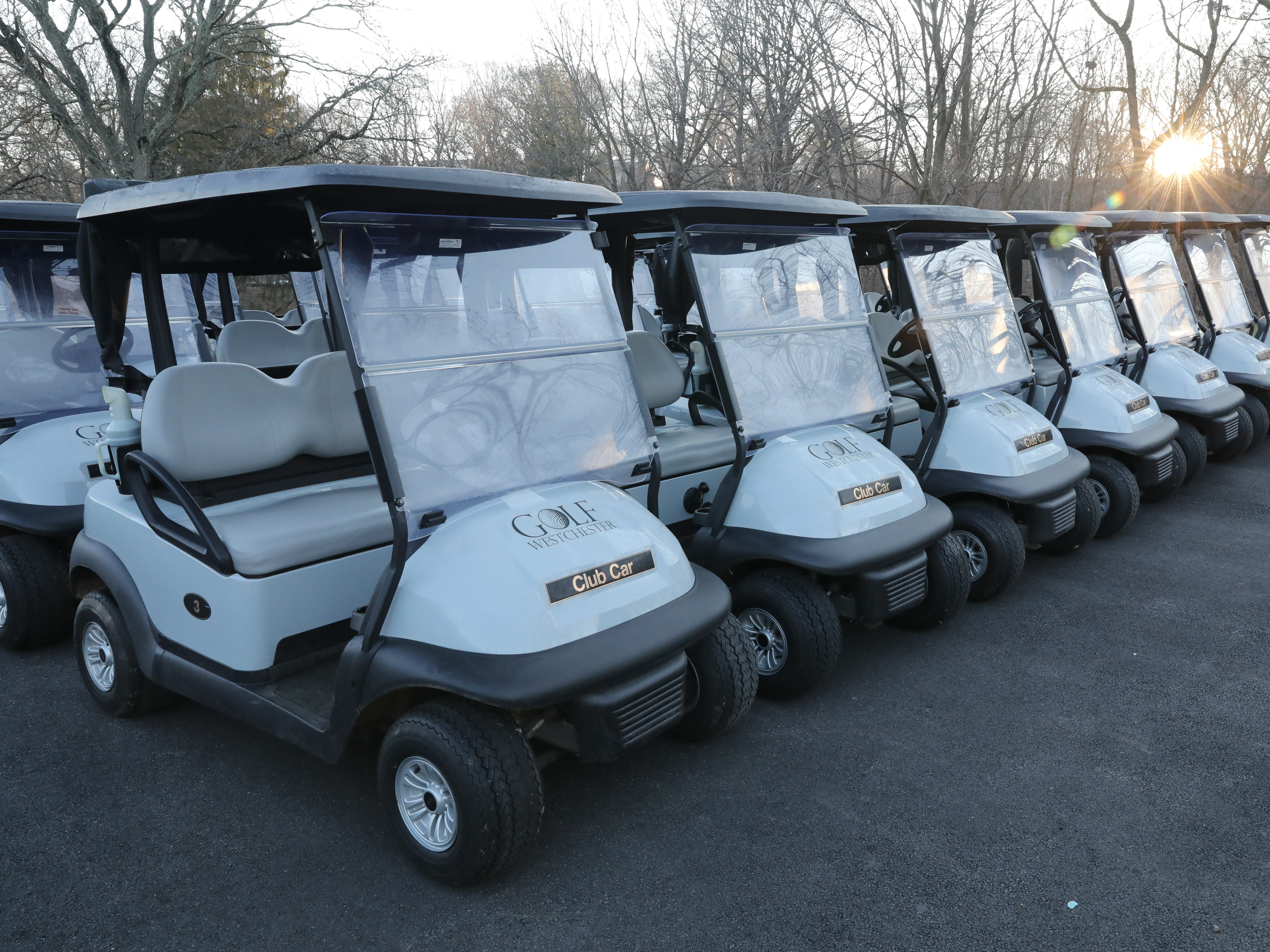 "Golf carts sit idle during a three hour ""frost delay"" during the opening day of golfing at Sprain Lake Golf Course in Yonkers, March 20, 2019."