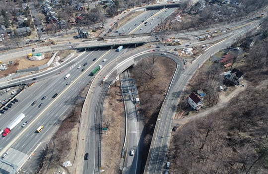 The Exit 10/Route 9W interchange on the NYS Thruway in South Nyack, as seen via lohud drone on Wednesday, March 20, 2019.