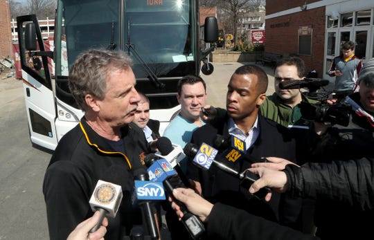 Iona Men's Basketball Coach Tim Cluess speaks to the media at the college March 20, 2019 before boarding a bus for a flight to Columbus, Ohio where the team will play North Carolina in the first round of the NCAA Tournament Friday night.