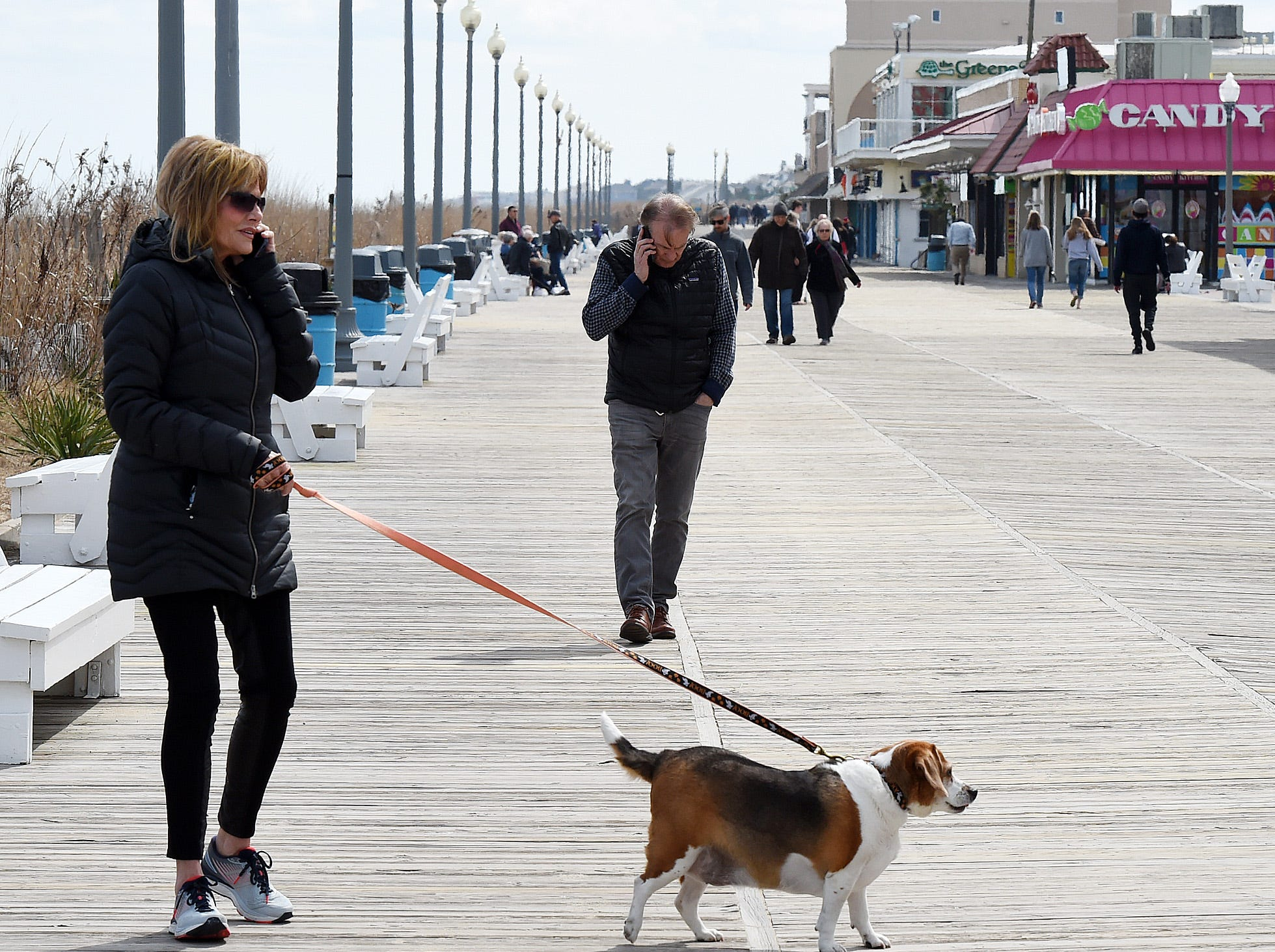 Some people did venture out to the beach and boardwalk to walk their pets, sit on the beach, buy some popcorn or just enjoy the outdoors on 2019's first day of spring.
