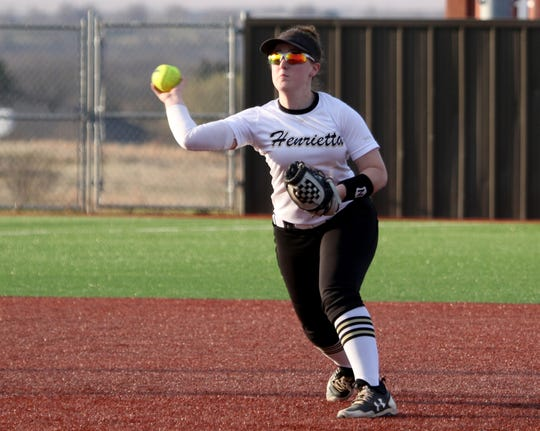 Henrietta's Kailey Barnard throws to first for the out against City View Tuesday, March 19, 2019, in Henrietta. The Lady Cats defeated the Lady Mustangs in a 4-3 walk-off.