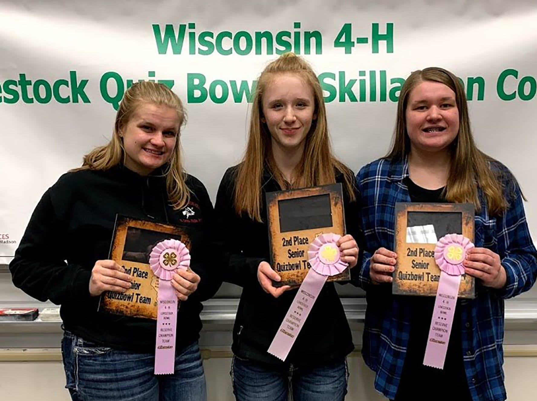 Second place Senior Quiz Bowl winners from Polk County are (from left) Josie Carlson, Katherine Elwood, Sarah Carlson.