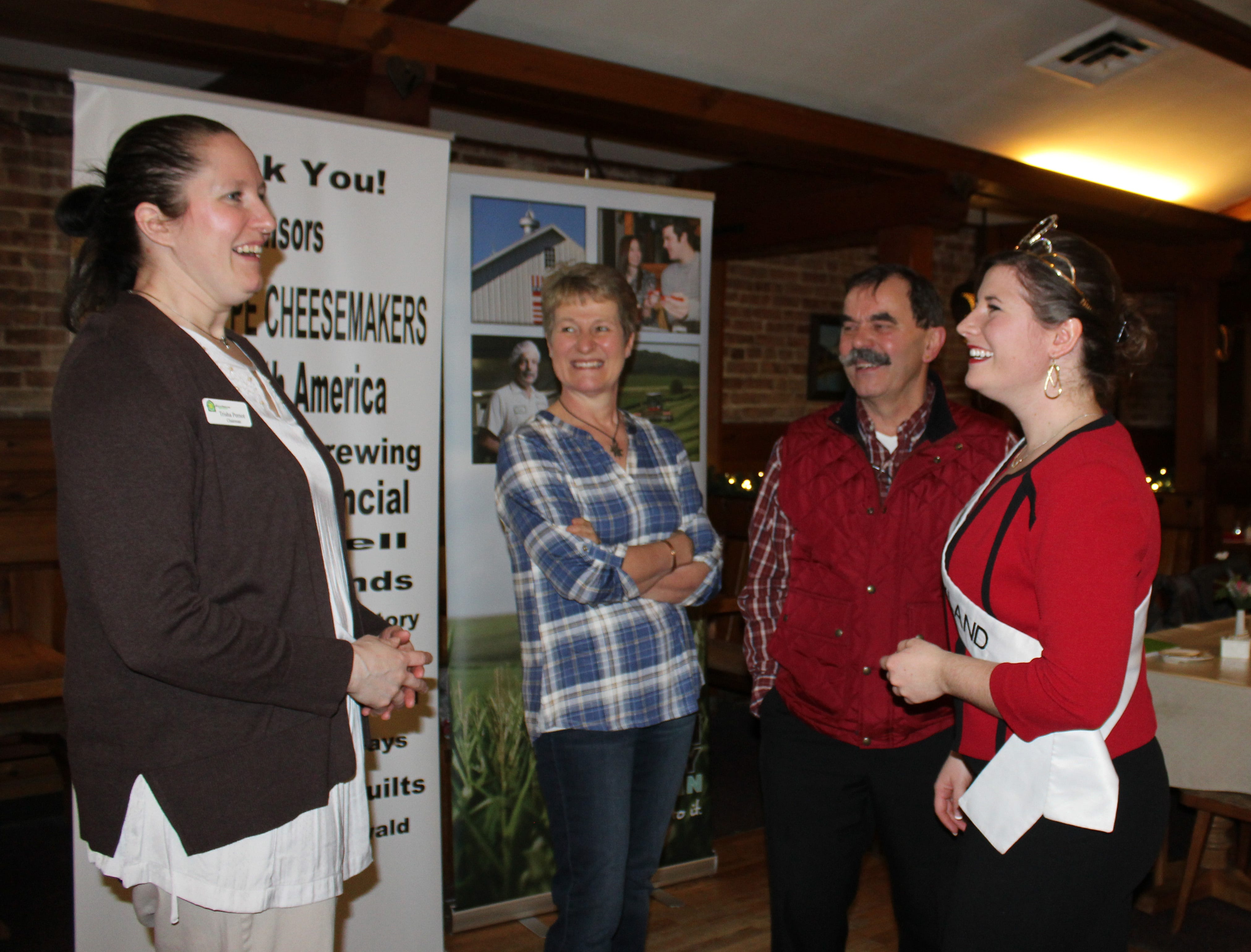Trisha Pernot (left) chairman of the 2019 Alice Finals in Green County chats with Alice in Dairyland Kaitlyn Riley and program sponsors Esther and Tony Zgraggen.