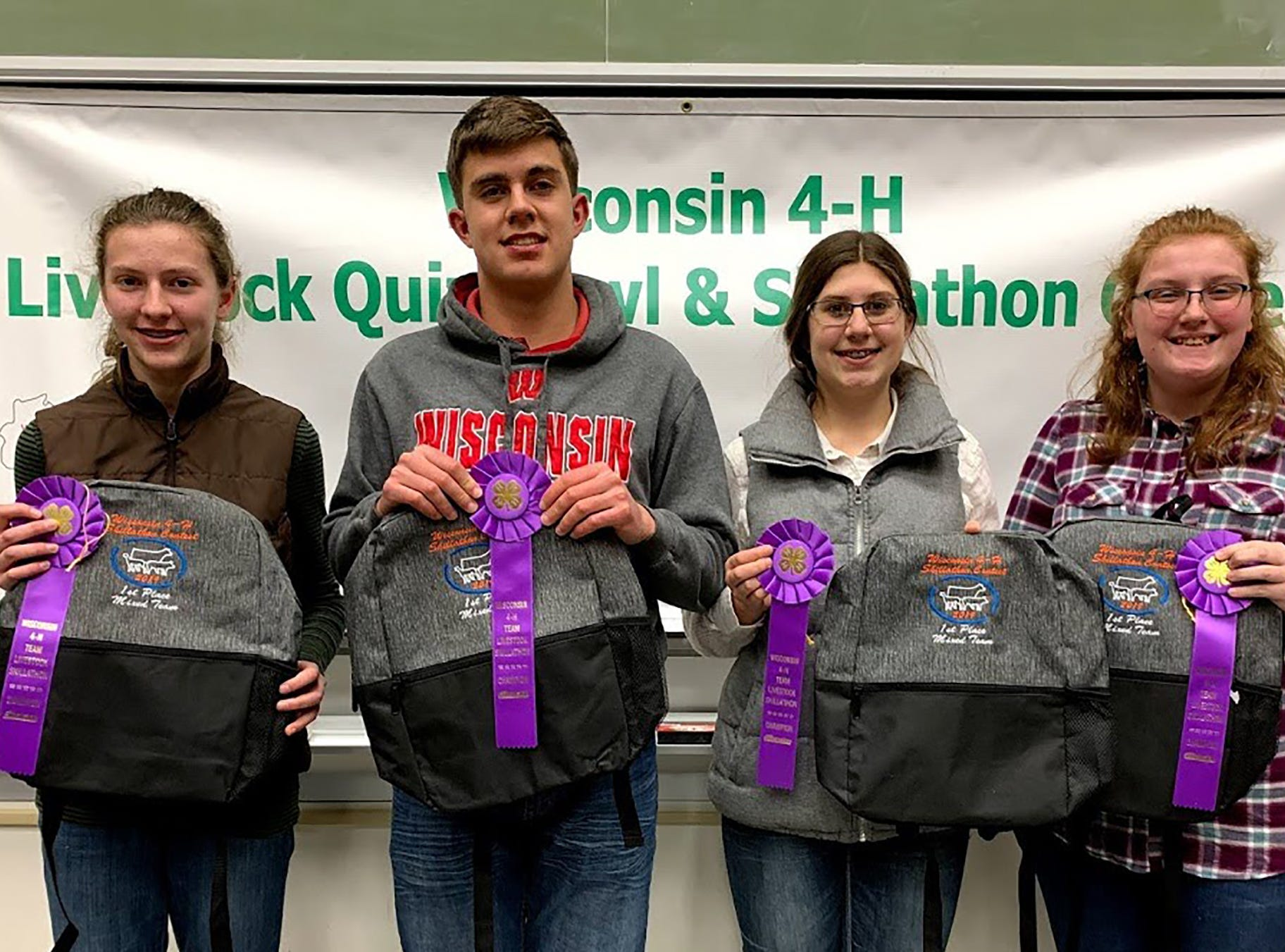 The champion Mixed Skillathon team members from Grant County are (from left) Jessica Patterson, Avery Crooks, Alayna Barth, Mason Crooks.