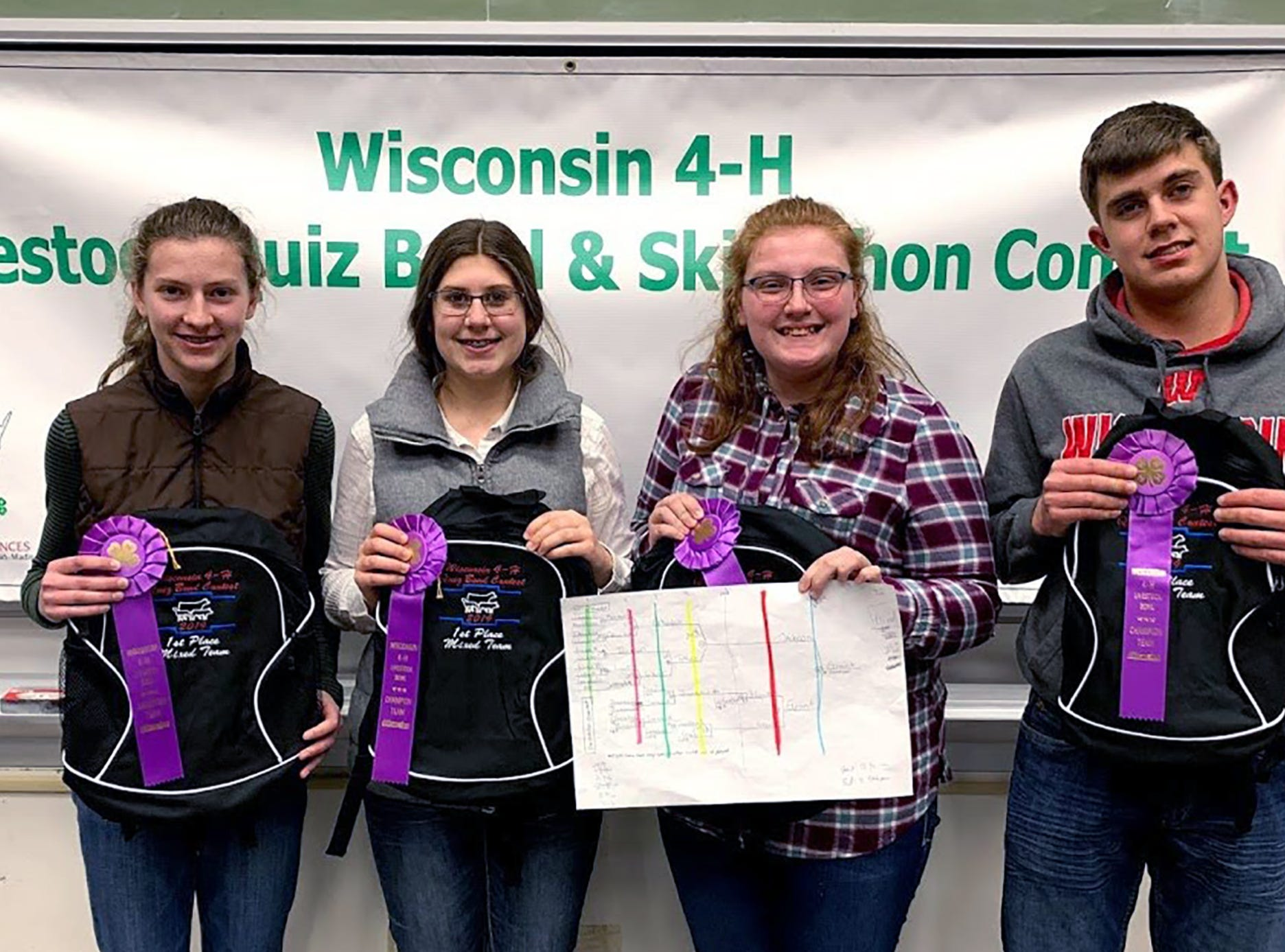 The first place Mixed Quiz Bowl team members from Grant County are pictured (from left) Jessica Patterson, Avery Crooks, Alayna Barth, Mason Crooks.