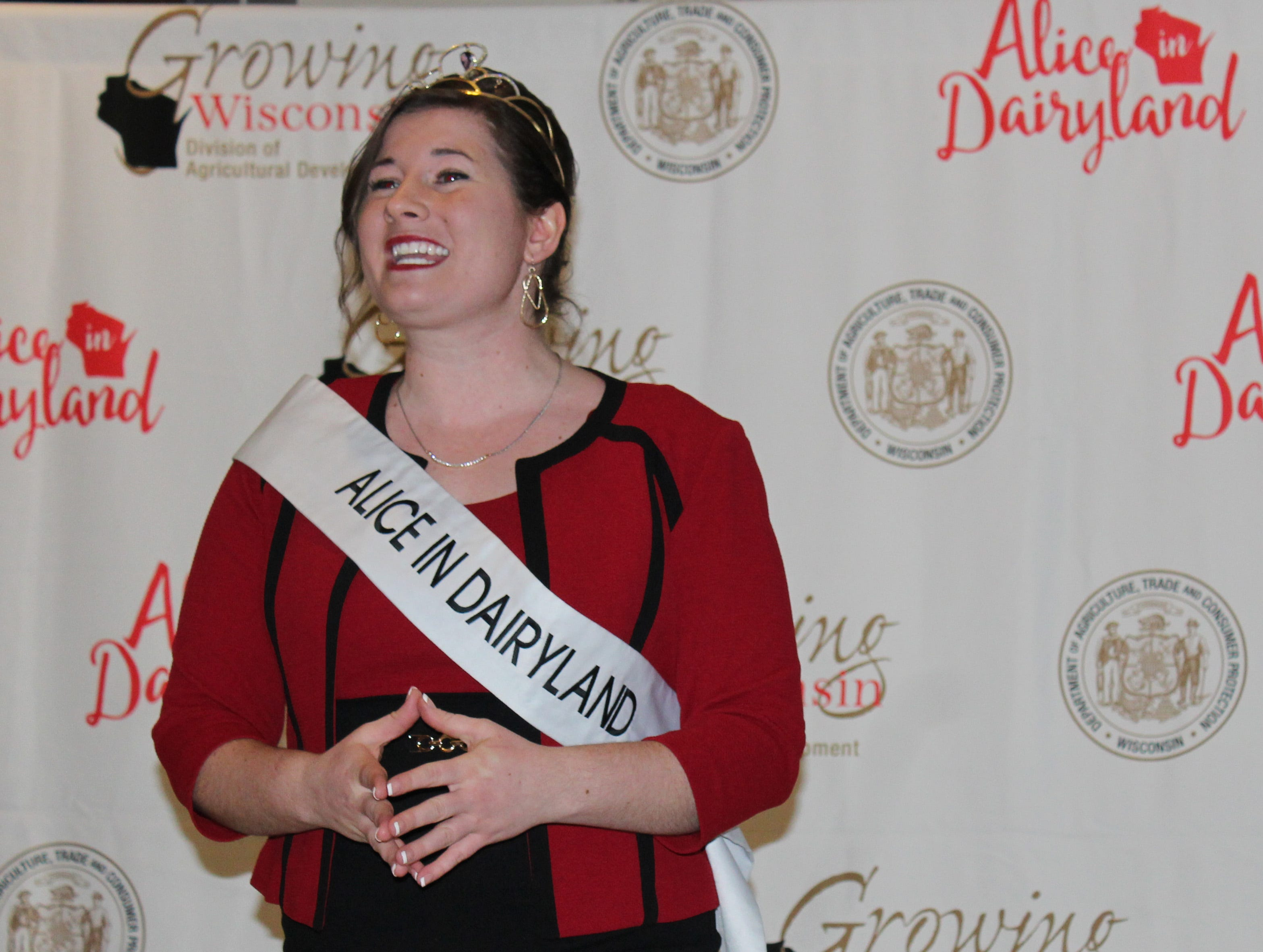71st Alice in Dairyland Kaitlyn Riley greets those gathered at a press conference to welcome the top candidates for the 72nd Alice in Dairyland.