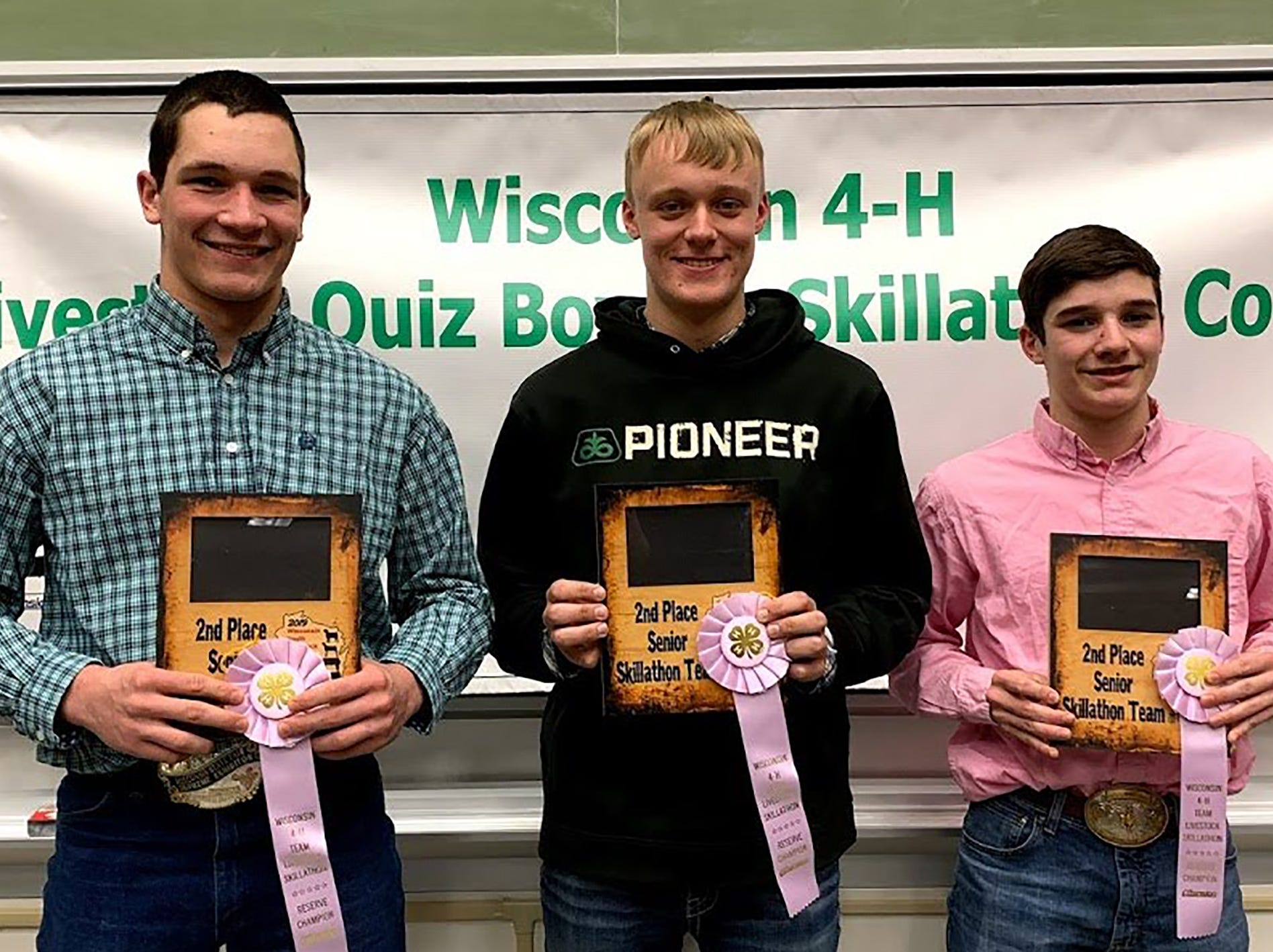The second place Senior Skillathon team is from Columbia County with members (from left)  Justin Taylor, Zach Mickelson, Hayden Taylor.