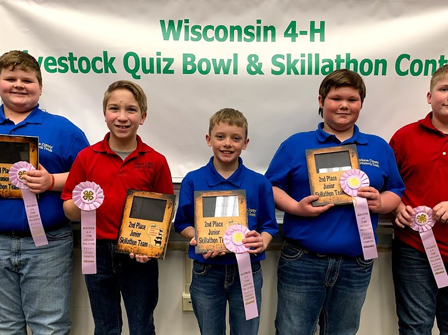 Second place Junior Skillathon team members from Jackson County are (from left) Doyle Hagen, Luke Fischer, Austin Olson, Jake Kling, Jack Laufenberg.