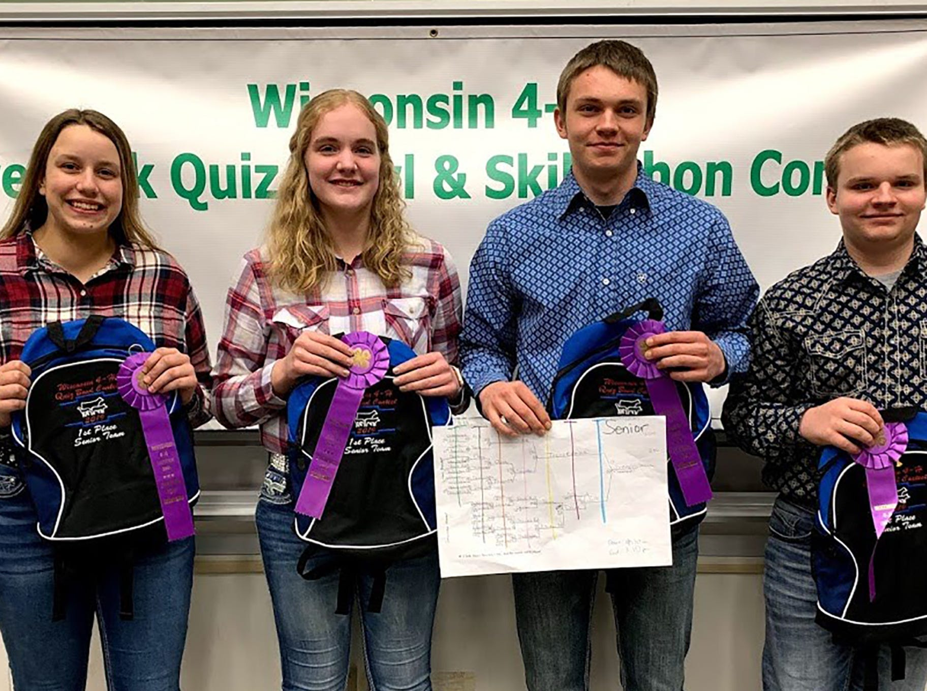 The Senior Quiz Bowl champion team from Trempealeau County consisted of team members (from left) Johanna Haines, Mara Quarne, Blake Johnson, Tyler Johnson.