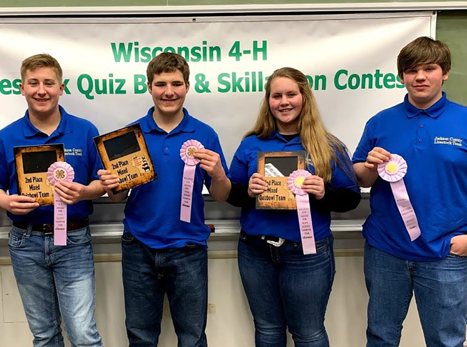 Reserve champion Quiz Bowl Jackson County members are pictured (from left) Austin Laufenberg, Trent Laufenberg, Kaden Moseley, Grace Kling, Wyatt Berg.