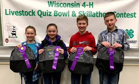 Junior Skillathon champions from Grant County are  (from left) Libby Vogt, Leah Patterson, Luke Patterson, Cameron Patterson.