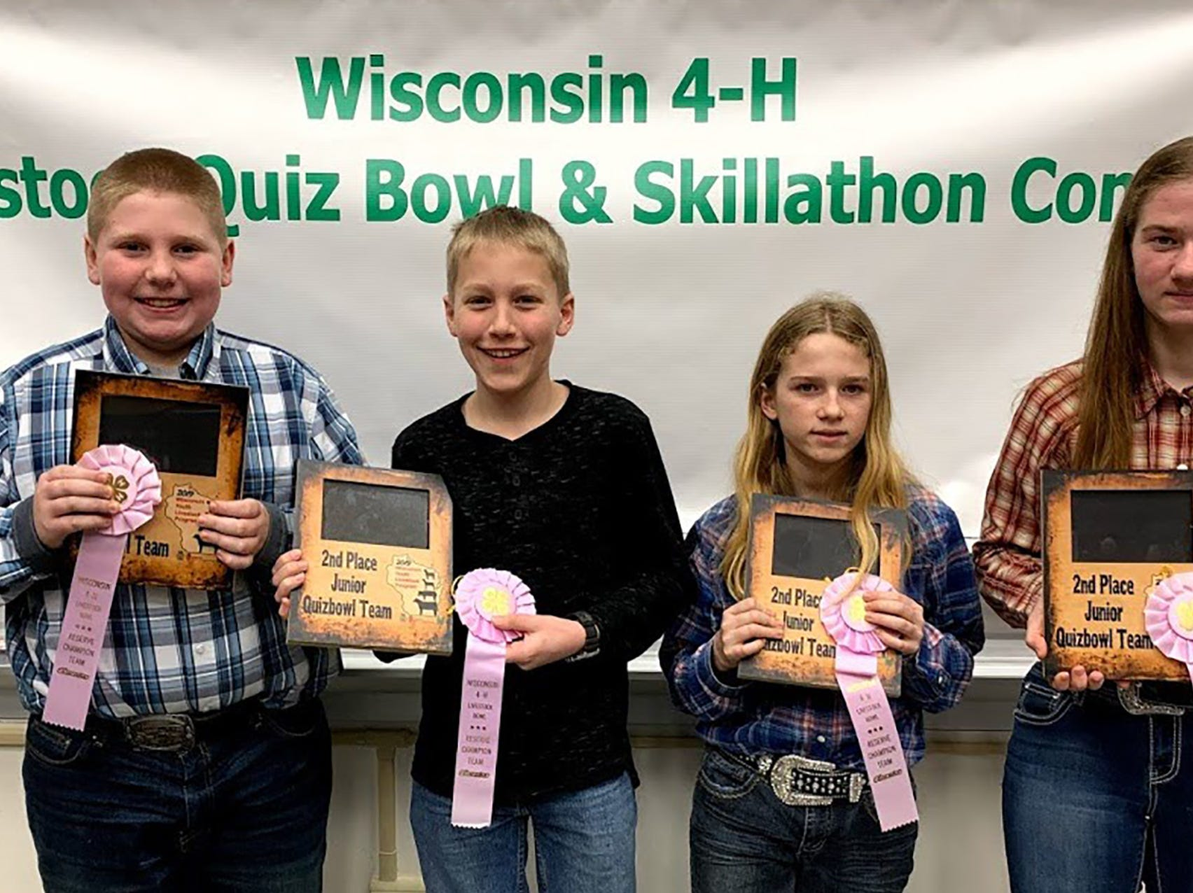 The second place Junior Quiz Bowl team from Marathon County consisted of members (from left)  Mason Heise, Logan Witberler, Alexa Leonard, Alison Leonard.