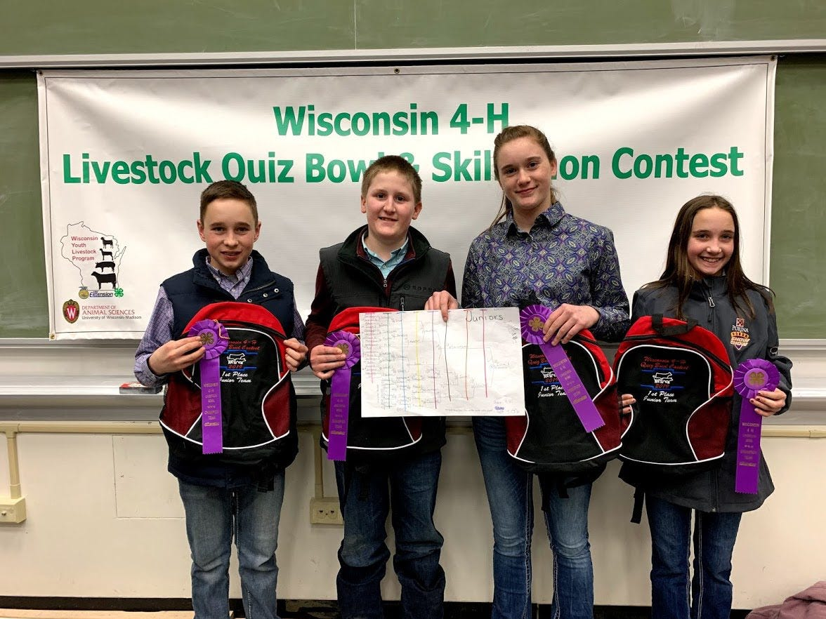 Winners of the Junior Quiz Bowl division (under 14 years old) was Iowa County 1. Members (from left) are Joey Robinson, Ty Gaffney, Julia Searls, Annie Robinson.