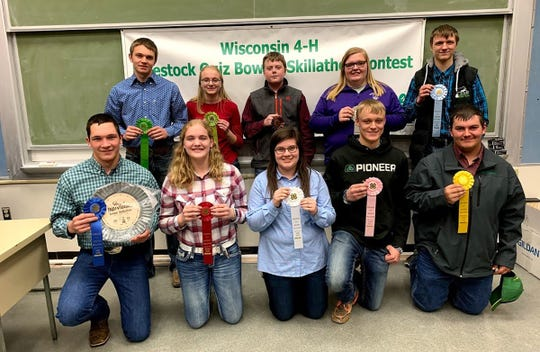 The top 10 Skillathon Senior Individuals are (from left, front) Justin Taylor, Columbia; Mara Quarne, Trempealeau; Kendra Jentz, Grant; Zack Mickelson, Columbia; Blake Wegmueller, Grant; (back) Blake Johnson, Trempealeau; Haley Schulenberg, Dane; Reece Theobald, Dane; Abby Meier, Grant; James Mejchar, Ozaukee.