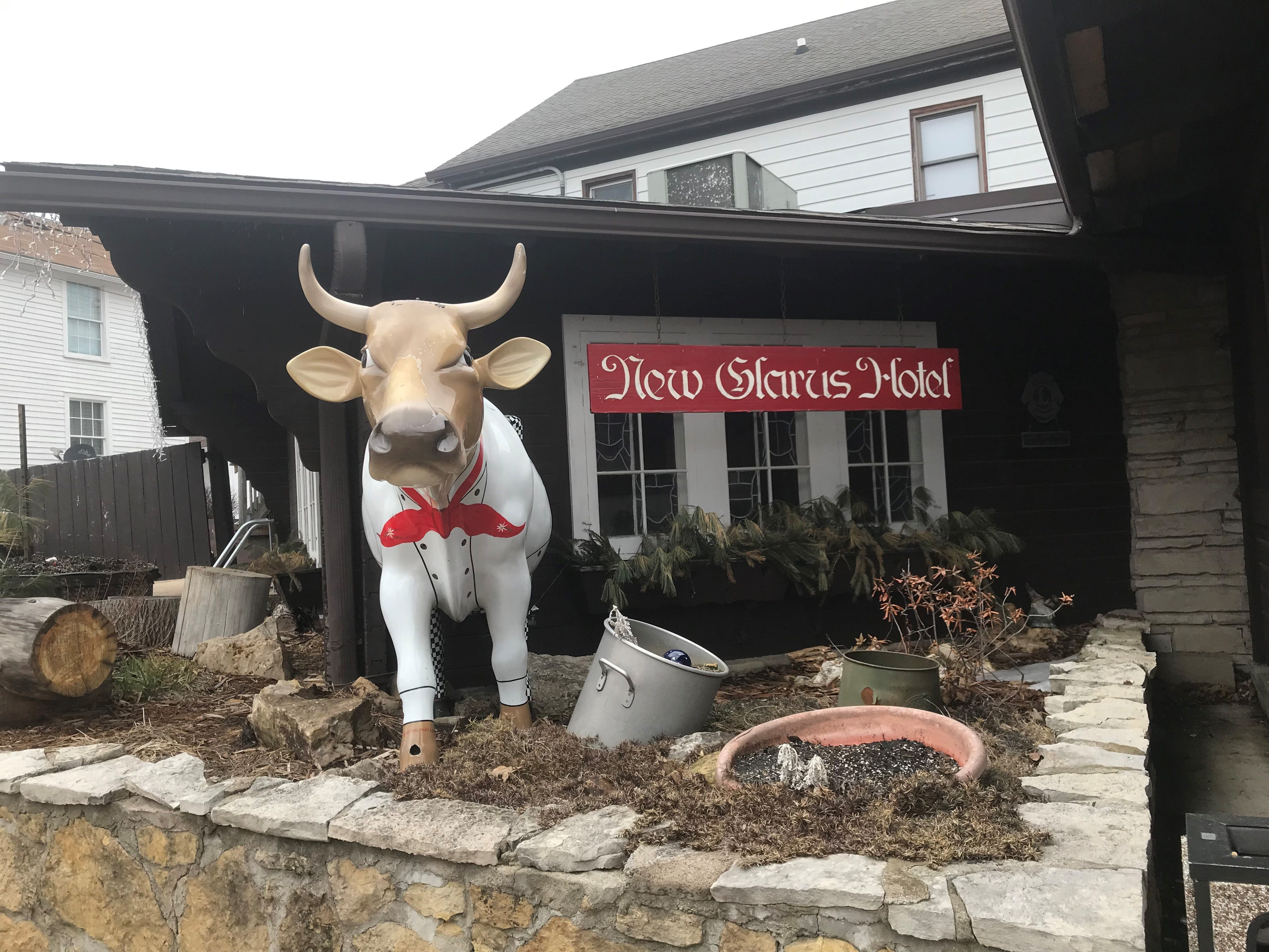 One of New Glarus' many Cows on Parade welcomes guests to the New Glarus Hotel.