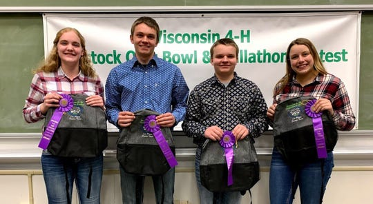 The top Senior Skillathon team from Trempealeau County consisted of members (from left) Mara Quarne, Blake Johnson, Tyler Johnson, Johanna Haines  .