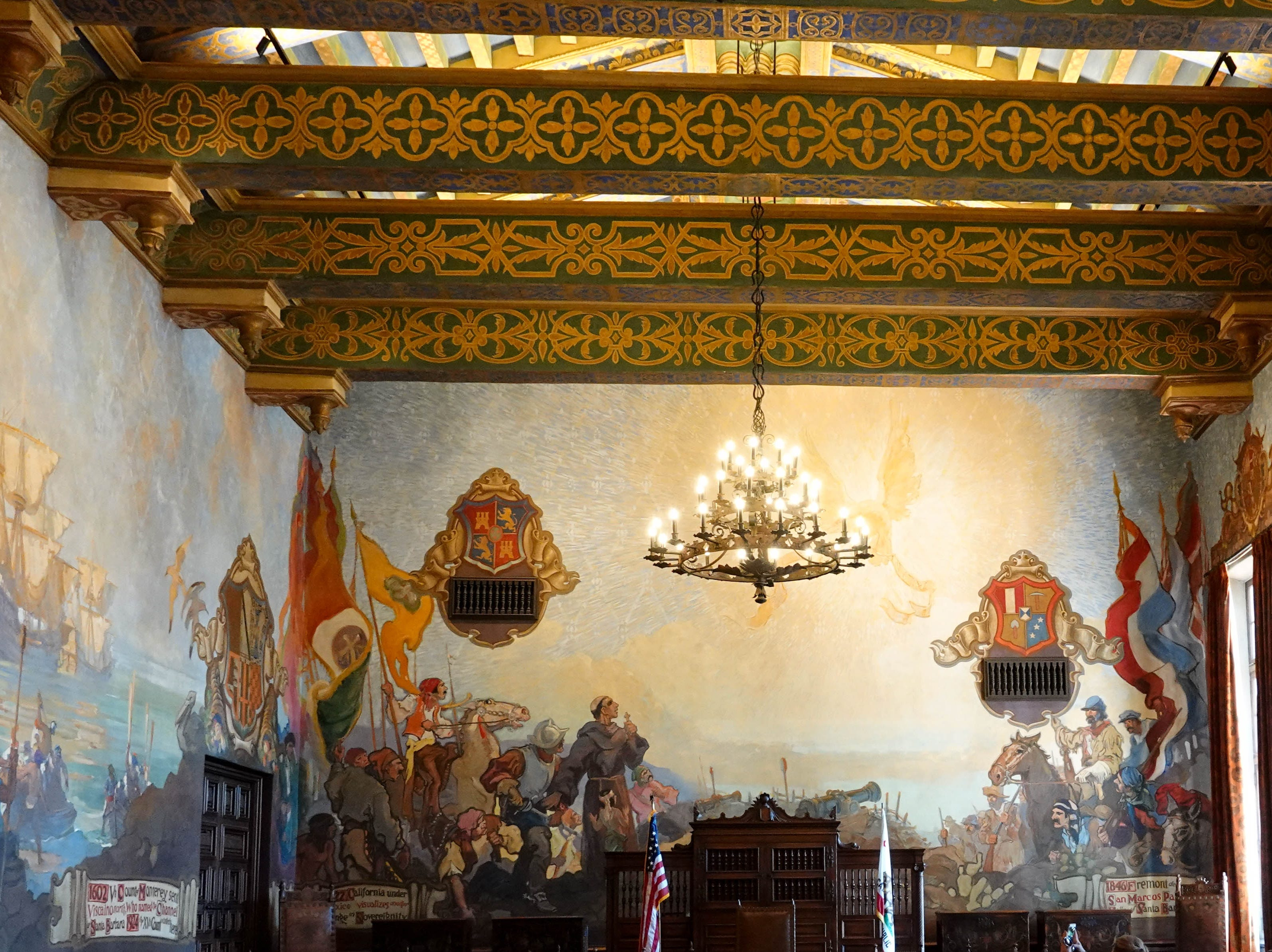 Interior of old court room at the Santa Barbara County Courthouse.