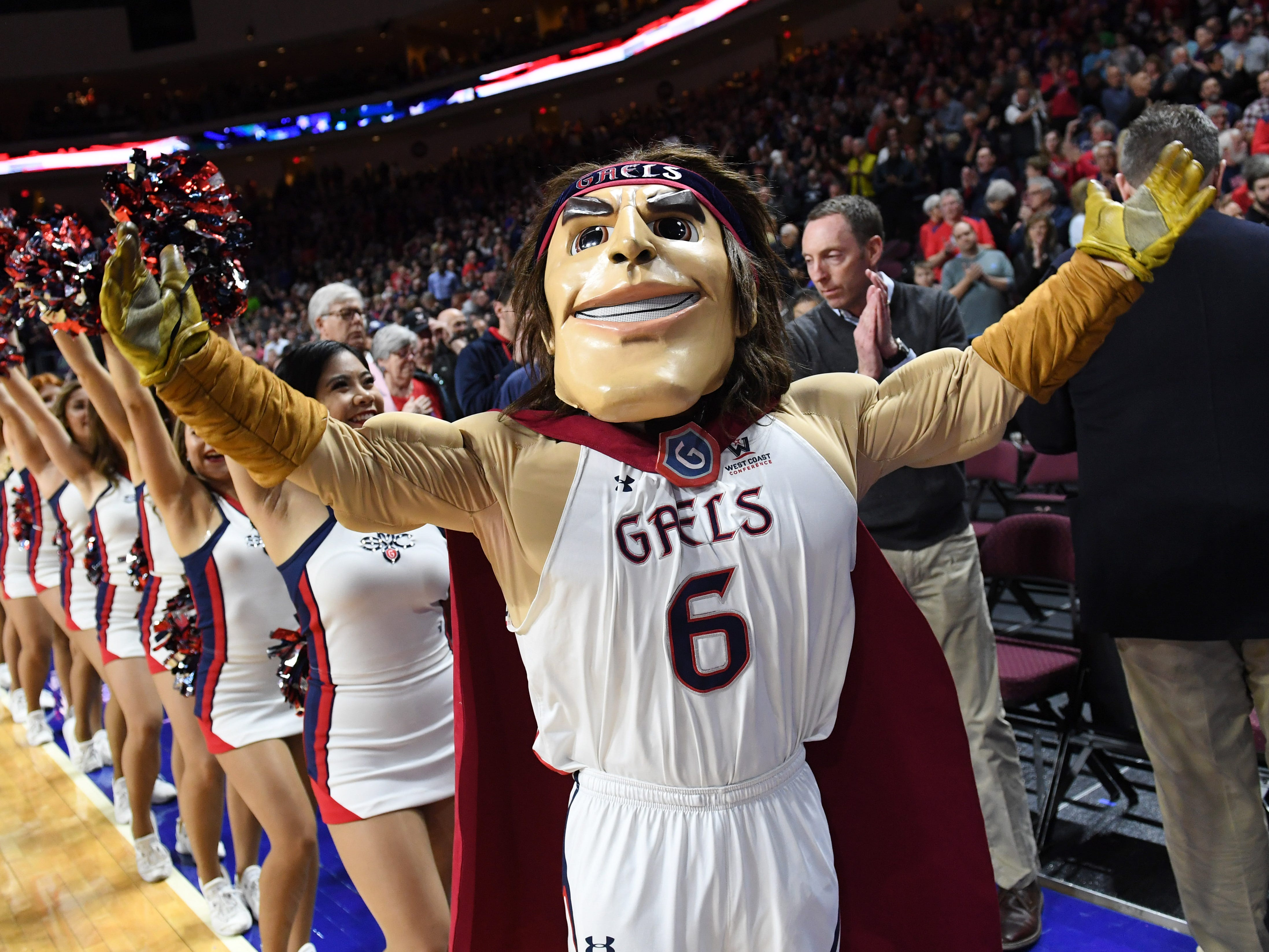 The Saint Mary's Gaels mascot has a face that could give a child nightmares.