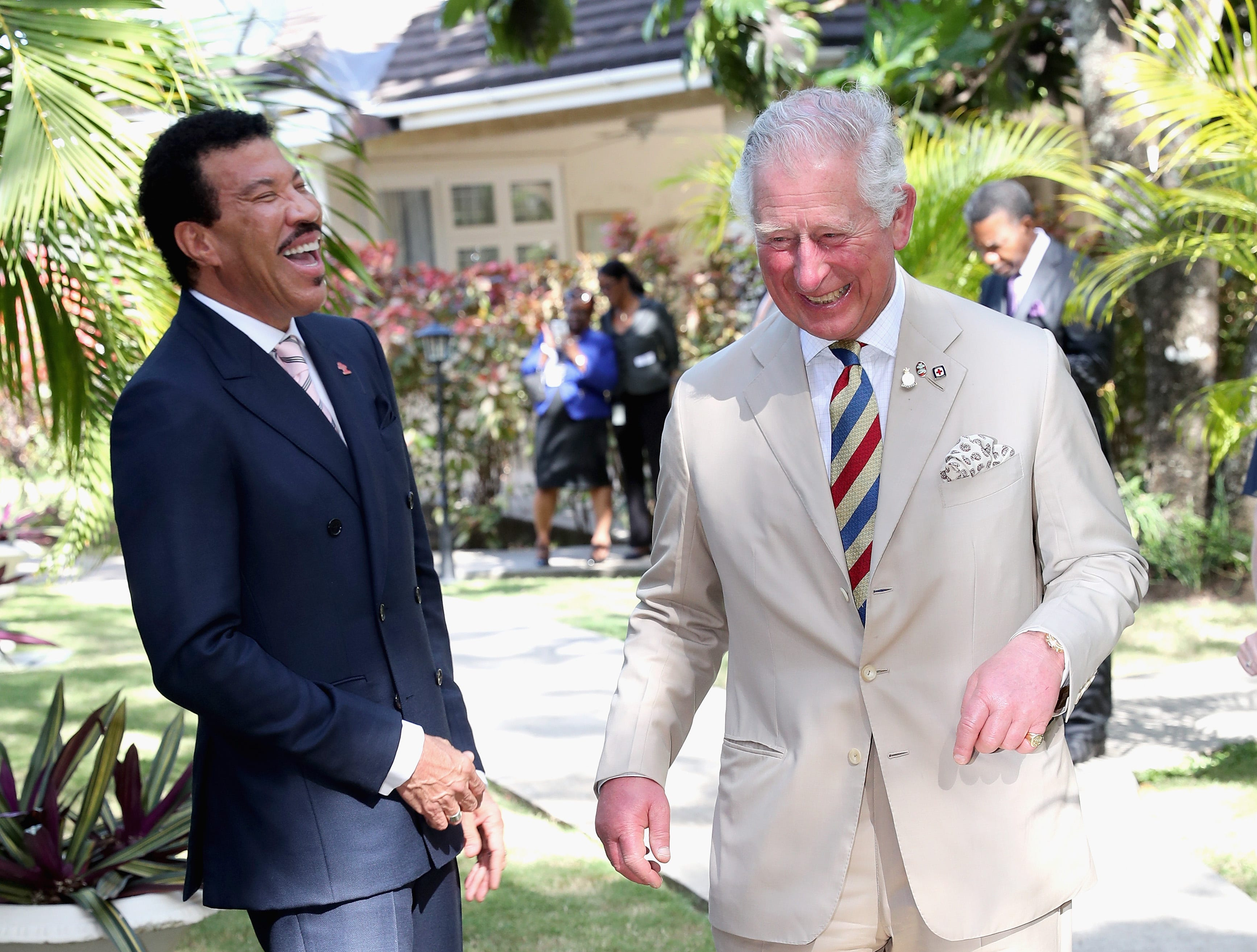 BRIDGETOWN, BARBADOS - MARCH 19:  Prince Charles, Prince of Wales meets singer Lionel Ritchie at a Prince's Trust International reception at The Coral Reef Club Hotel on March 19, 2019 in Bridgetown, Barbados.  (Photo by Chris Jackson/Getty Images) ORG XMIT: 775316887 ORIG FILE ID: 1131574065