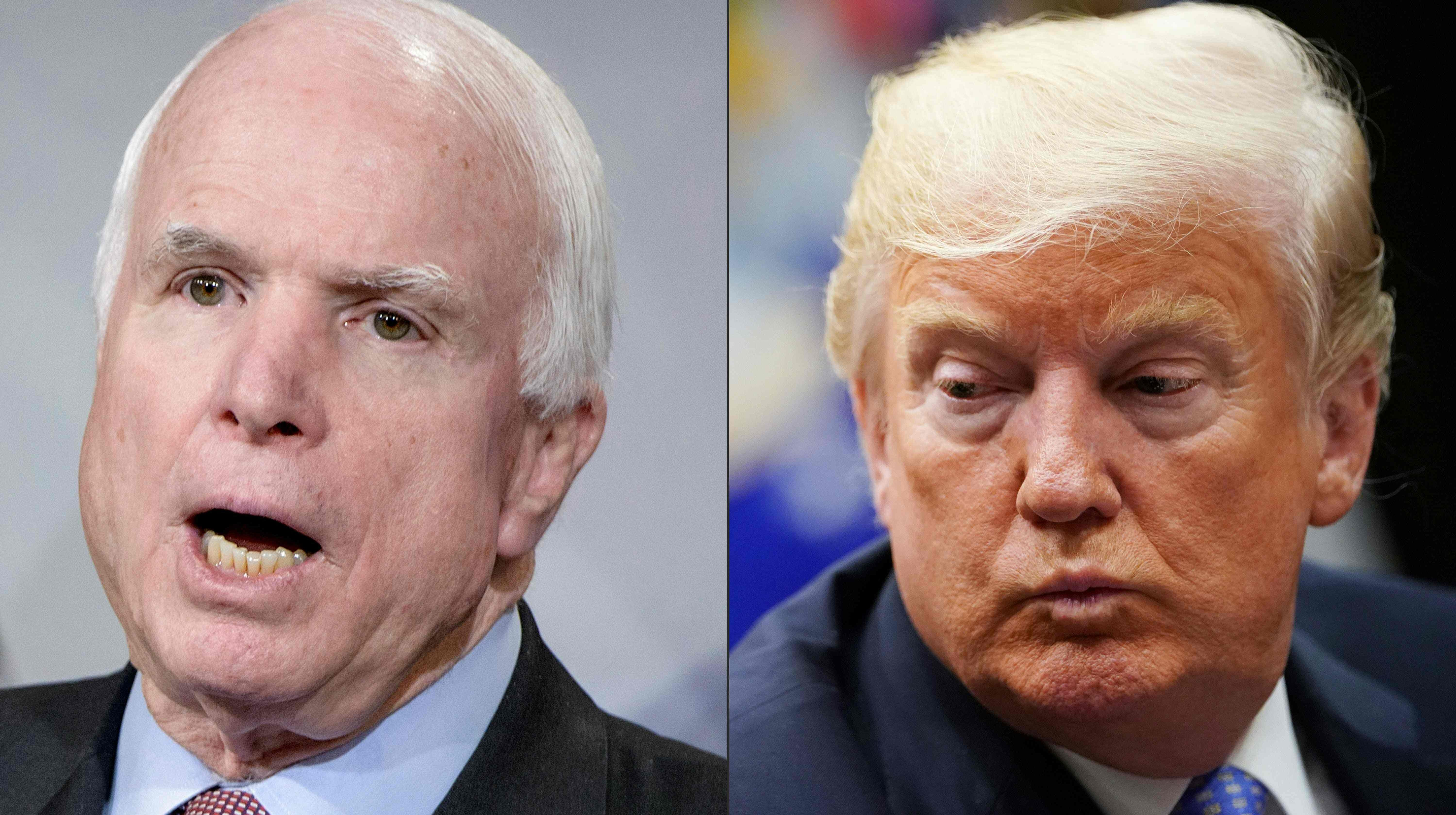 (COMBO) This combination of pictures created on August 24, 2018 shows US Senator John McCain and US President Donald Trump. - One of John McCain's final wishes, as he struggled against a devastating brain cancer, could not have been more clear: He made it known that he did not want Donald Trump to attend his funeral. US senator John McCain, a celebrated war hero known for reaching across the aisle in an increasingly divided America, died Saturday after losing a battle to brain cancer, his office said. He was 81. (Photos by BRENDAN SMIALOWSKI and MANDEL NGAN / AFP)BRENDAN SMIALOWSKI,MANDEL NGAN/AFP/Getty Images ORIG FILE ID: AFP_18K93M