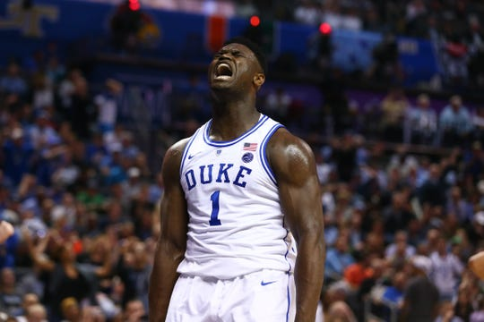 Duke forward Zion Williamson celebrates a play during the 2019 ACC tournament.