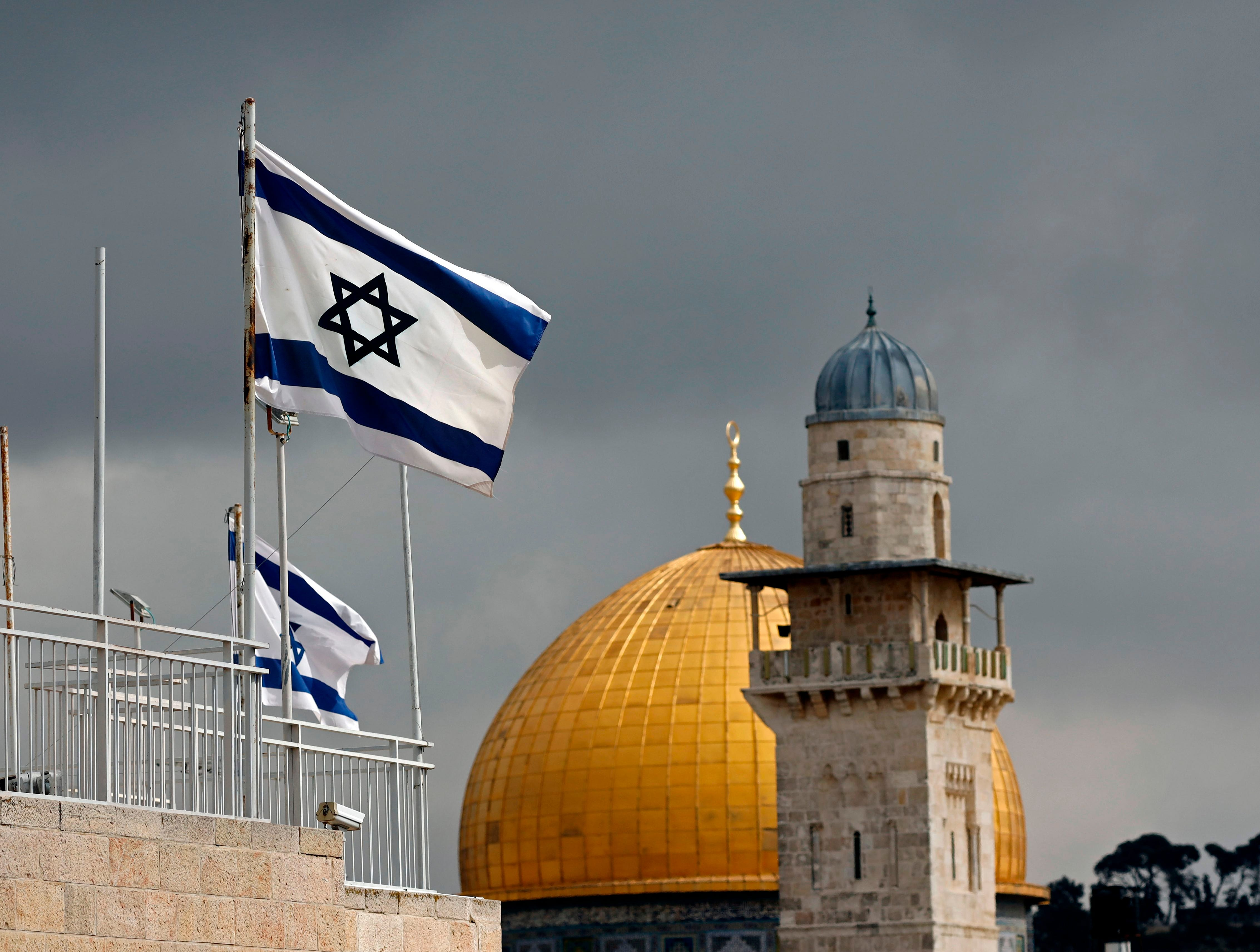 Israeli flags flutter in front of the Dome of the Rock in the Jerusalem's Old City, on February 19, 2019. (Photo by THOMAS COEX / AFP)THOMAS COEX/AFP/Getty Images ORIG FILE ID: AFP_1DL9JZ