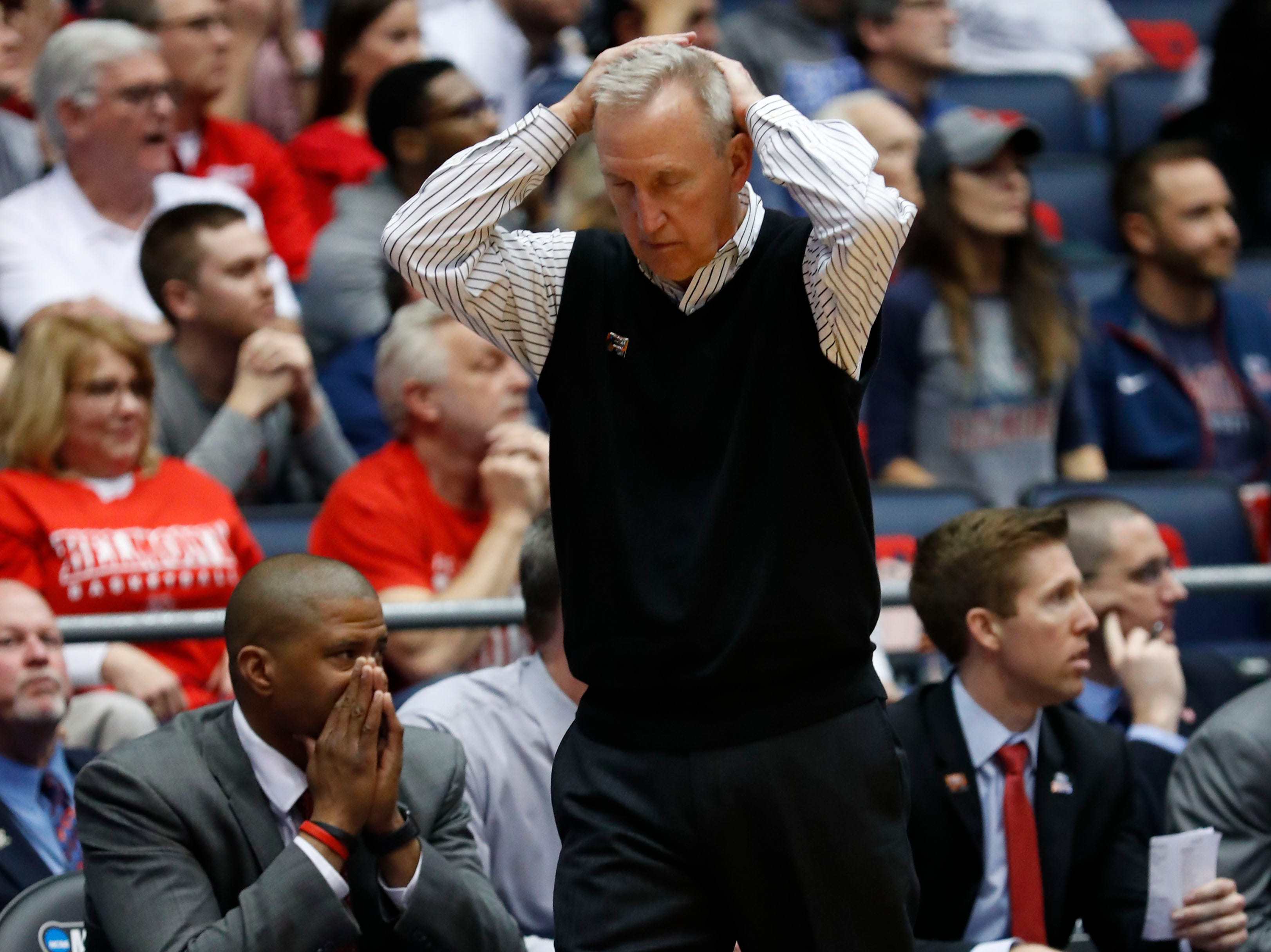 Belmont Bruins head coach Rick Byrd reacts to a play in the second half against the Temple Owls. He picked up his first NCAA tournament win.