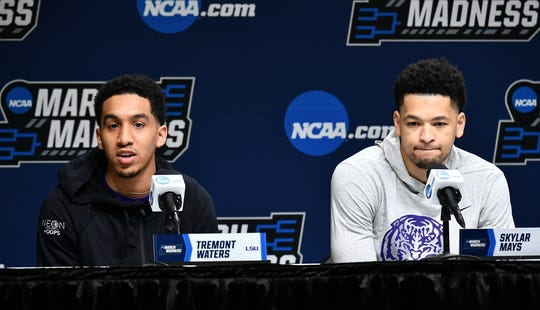 LSU guard Tremont Waters, left, and guard Skylar Mays talk to the media before the first round of the 2019 NCAA tournament.