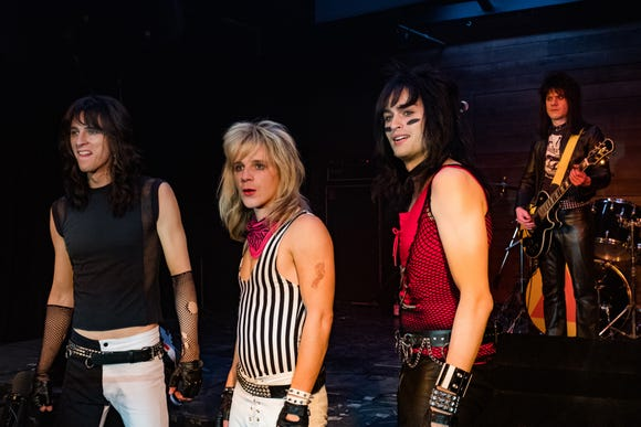 Tommy Lee (Colson Baker, from left), Vince Neil (Daniel Webber), Nikki Sixx (Douglas Booth) and Mick Mars (Iwan Rheon) have an inauspicious first show.
