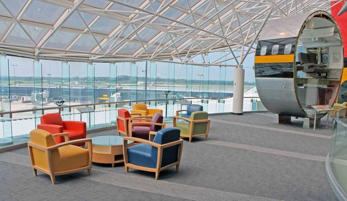 Airport observation decks, then and now
