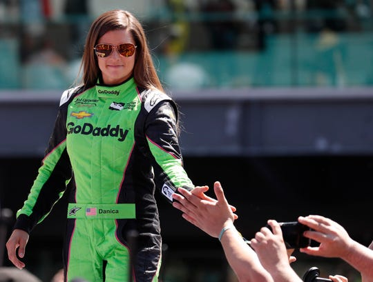Danica Patrick shown before the 102nd Indy 500 in 2018.