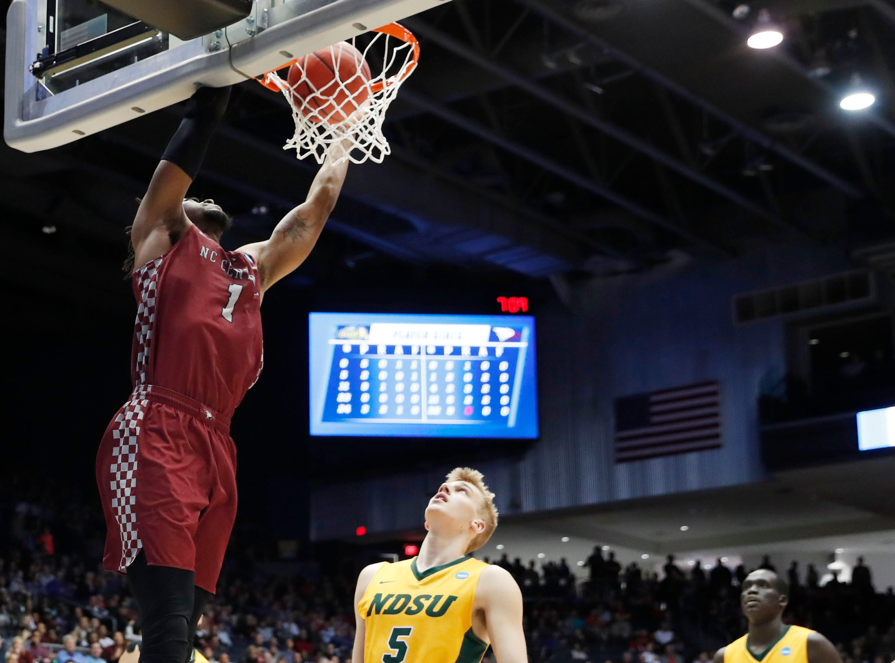 North Carolina Central Eagles forward Zacarry Douglas (1) dunks the ball in the first half against the North Dakota State Bison.