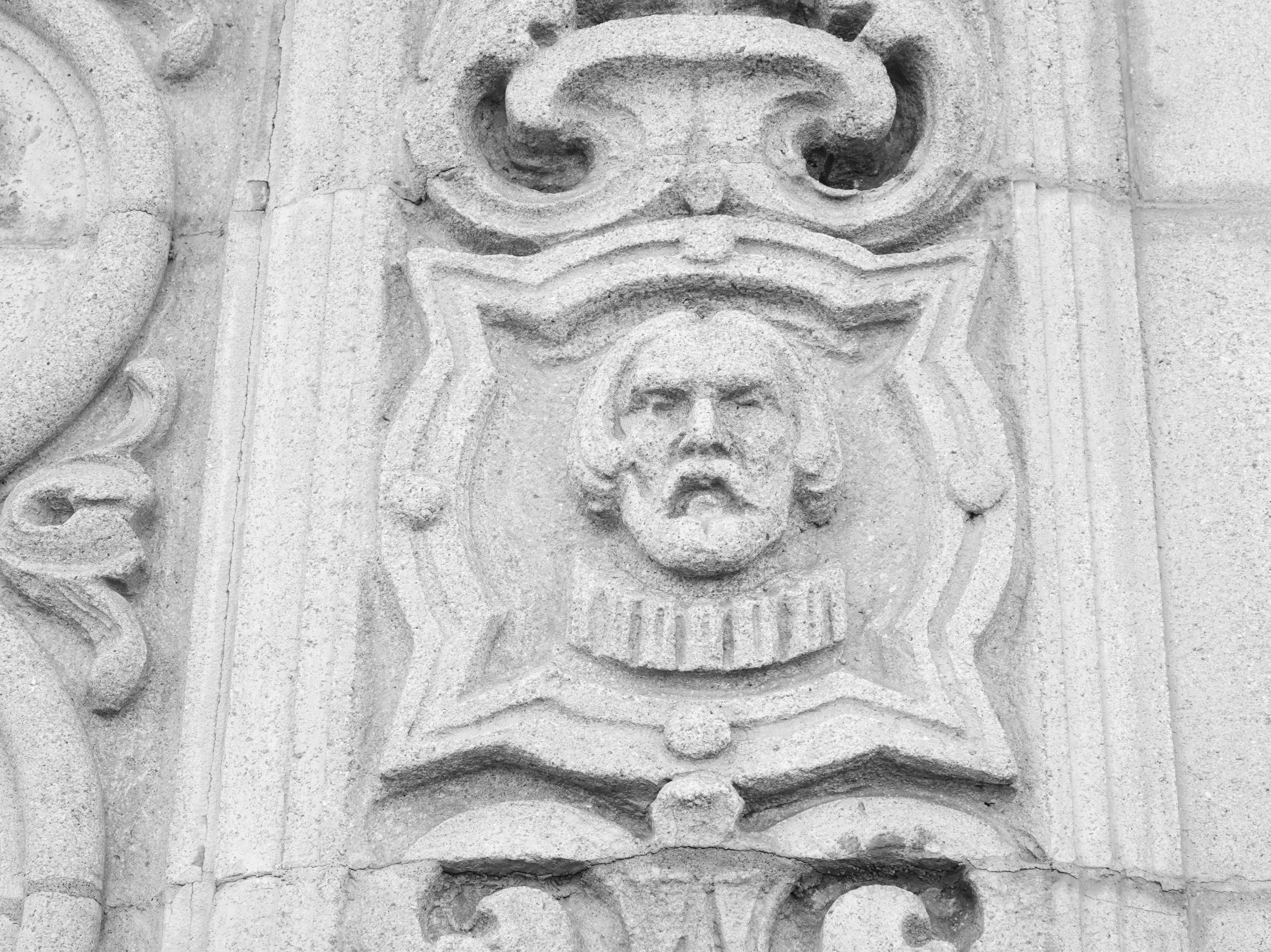Carving on the side of the San Marcos building on downtown State Street in Santa Barbara.