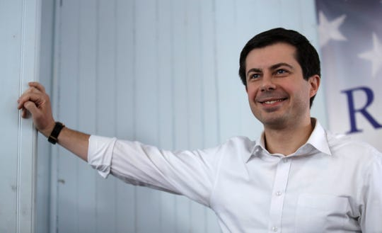 Sound Bend, Indiana, Mayor Pete Buttigieg visited Raymond, N.H. on Feb. 16, 2019. (AP Photo/Charles Krupa)