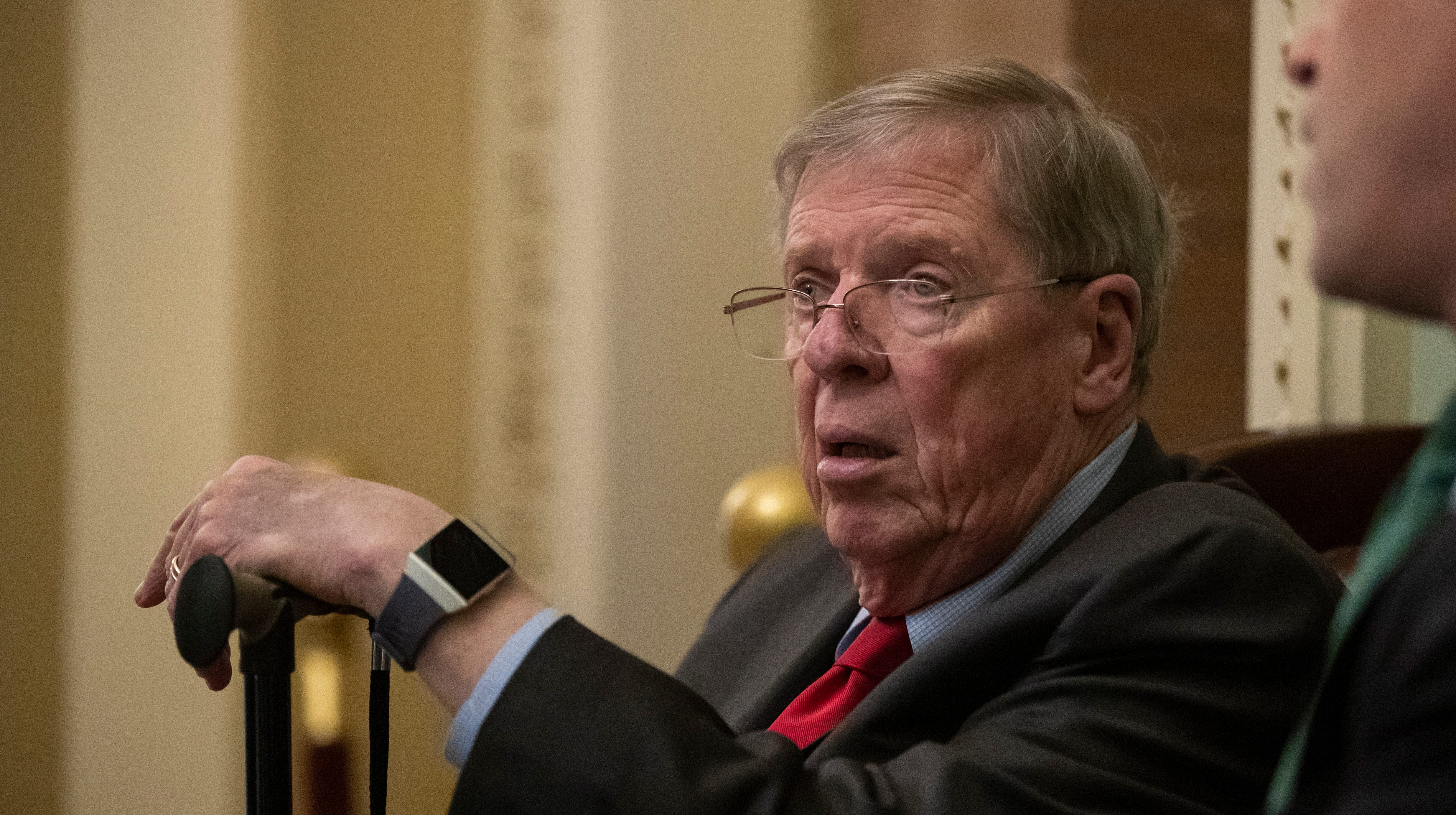 """Republican Senator from Georgia Johnny Isakson outside the Senate floor at the US Capitol in February 2019. Isakson told The Bulwark that President Donald Trump is to get a """"whipping"""" over comments he made about the late Sen. John McCain."""