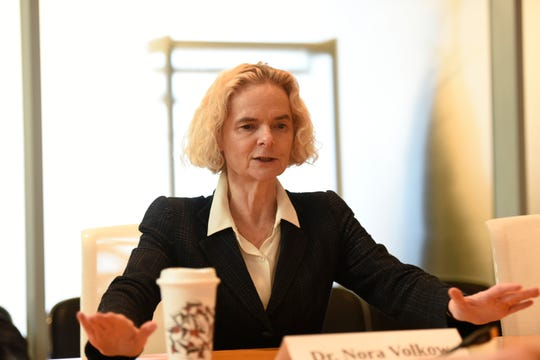 3/19/19 9:27:46 AM -- McLean, VA  -- The Editorial Board meet with Dr. Nora Volkow, head of the National Institute on Drug Abuse (NIDA).  --Photo by Keren Carrion, USA TODAY staff ORG XMIT:   S 137868 Nora Volkow 03/19/2019 [Via MerlinFTP Drop]